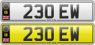 230 EW dentists number plate