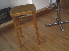 retro wooden stool vinyl top